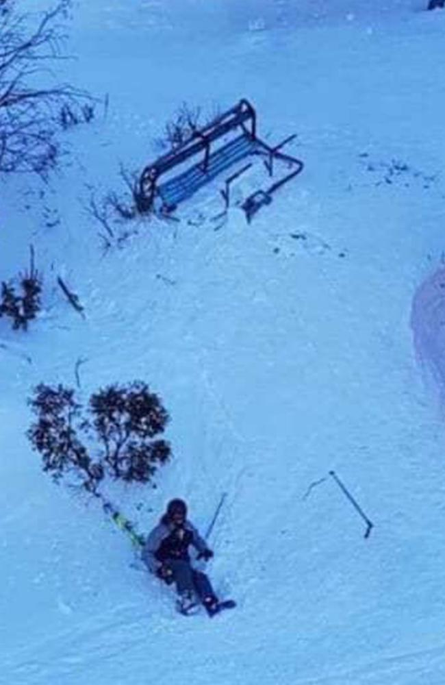 Skier falls from Thredbo chairlift after one of the chairs fell to the ground. Picture: snowsbest.com