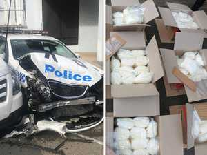 Alleged drug dealer crashes 270kg of ice into parked cop car