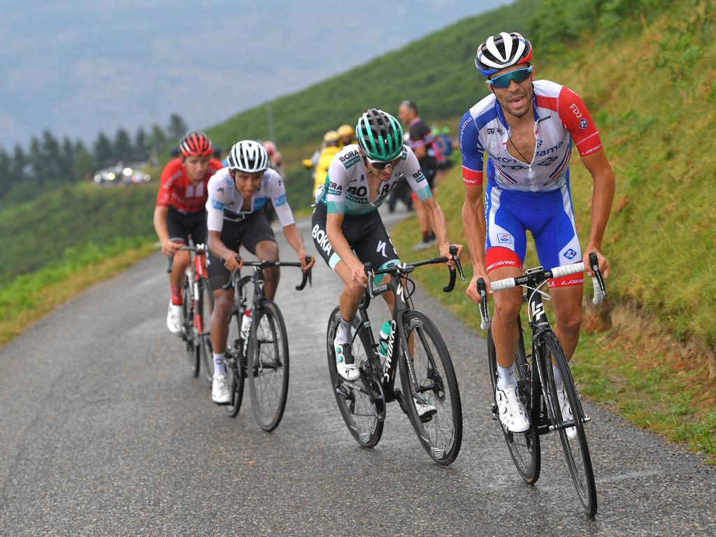 The trio of (R — L) Thibaut Pinot, Emanuel Buchmann and Egan Bernal are all within striking distance of yellow heading into the final week of the Tour. Picture: Tim de Waele/Getty Images