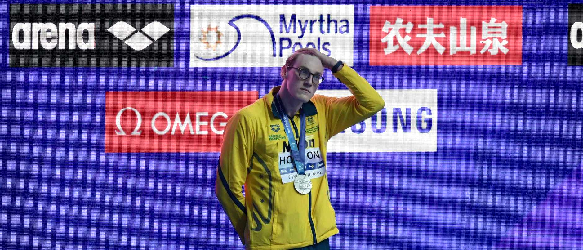 Australia's Mack Horton was issued a warning letter for refusing to share the podium with drug cheat Sun Yang. Picture: Ed Jones/AFP
