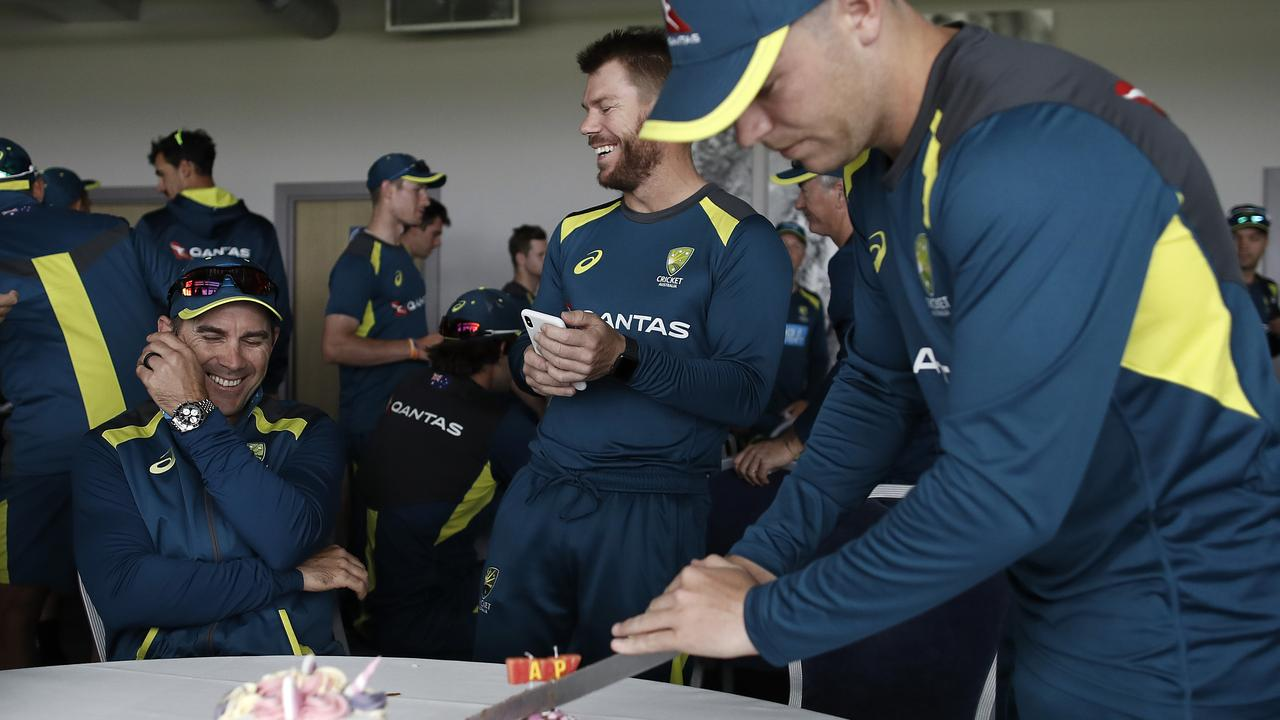 The Aussies celebrate Marcus Harris' 27th birthday in Southampton.