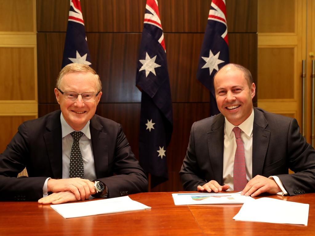 RBA Governor Philip Lowe (left) meeting with Treasurer Josh Frydenberg last week. Picture: The Australian Pool, David Geraghty/AAP