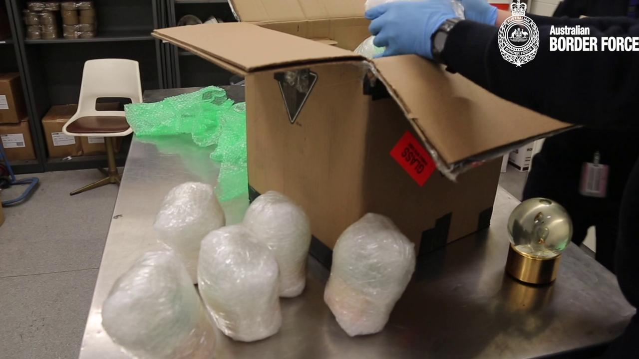 Each of the 15 snow globes was individually wrapped with a total of 7.5 litres of liquid methamphetamine. Picture: ABF