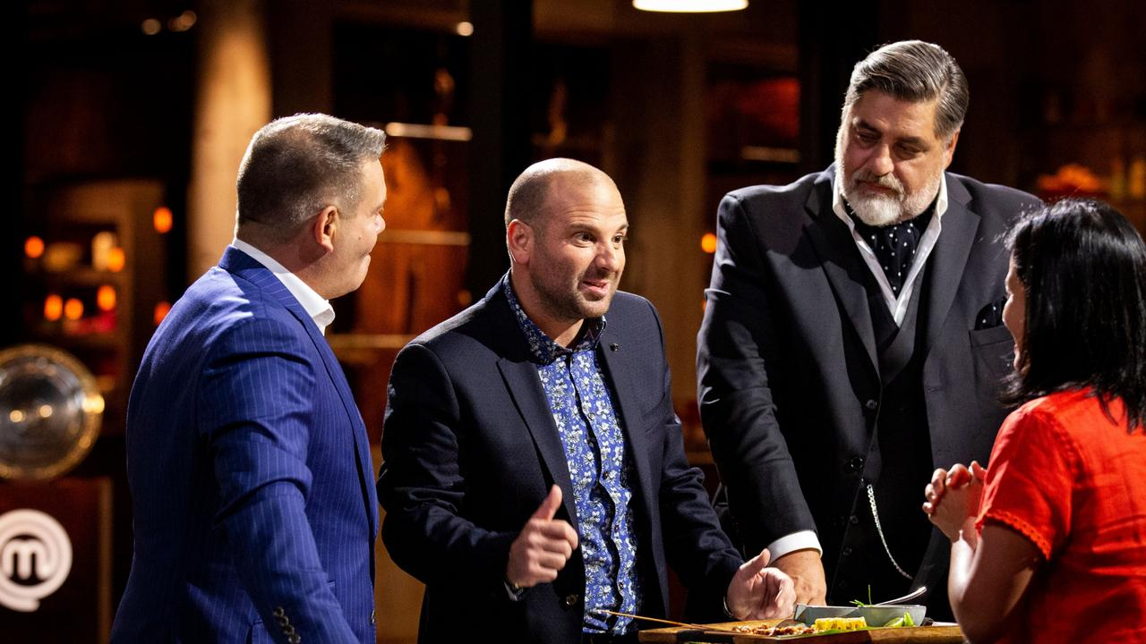 Calombaris (centre) with co-hosts Mehigan and Preston in April at the launch of the season of MasterChef which would prove their last.