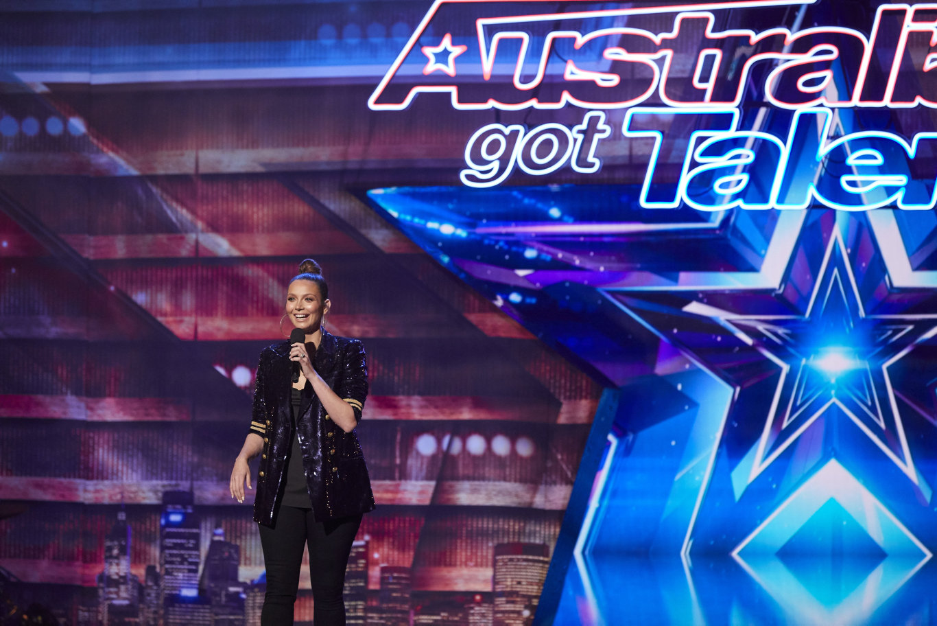Ricki-Lee Coulter on the set of Australia's Got Talent.