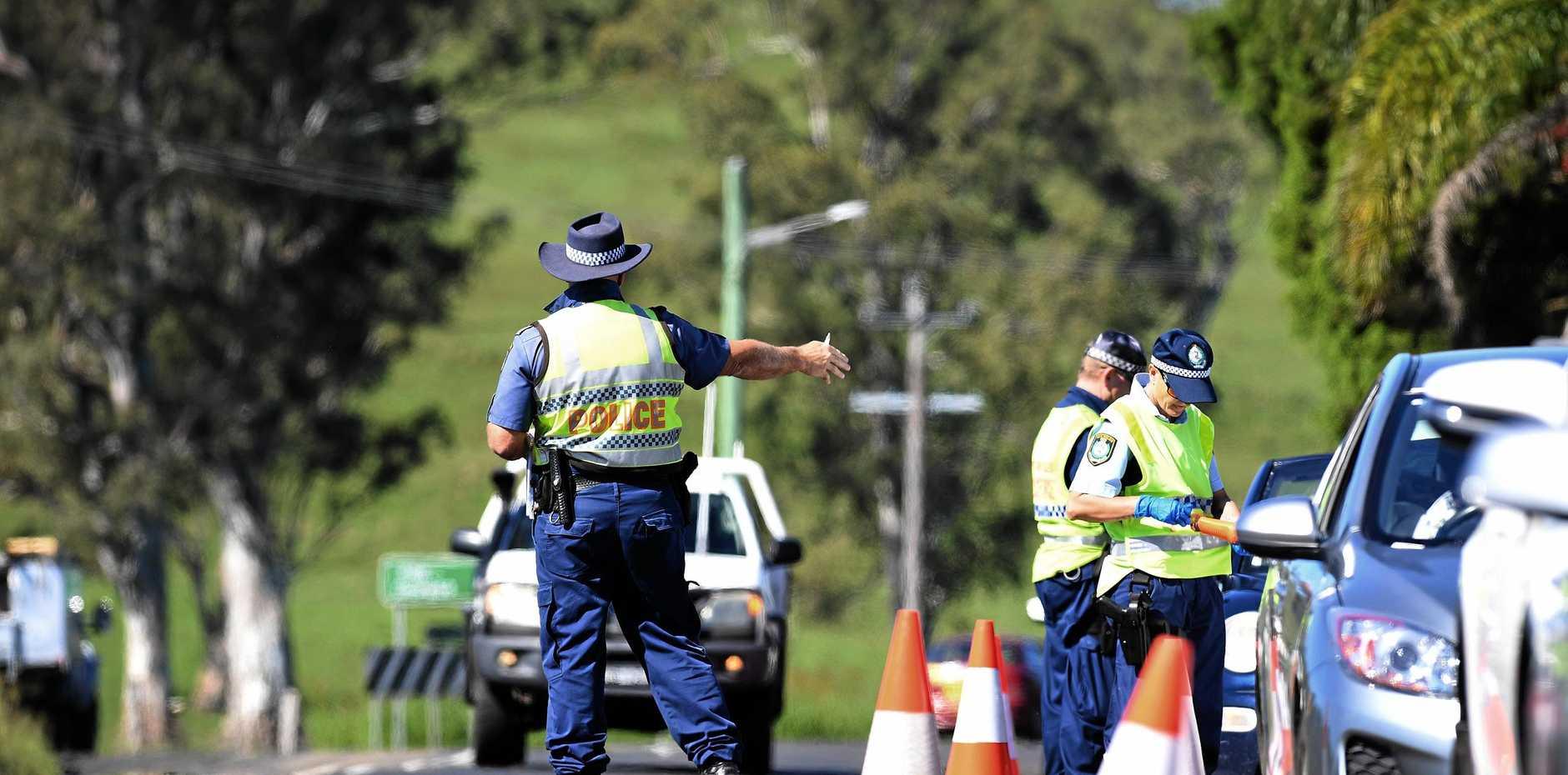 Police conducting roadside testing on the way to MardiGrass 2019 near Goolmangar.