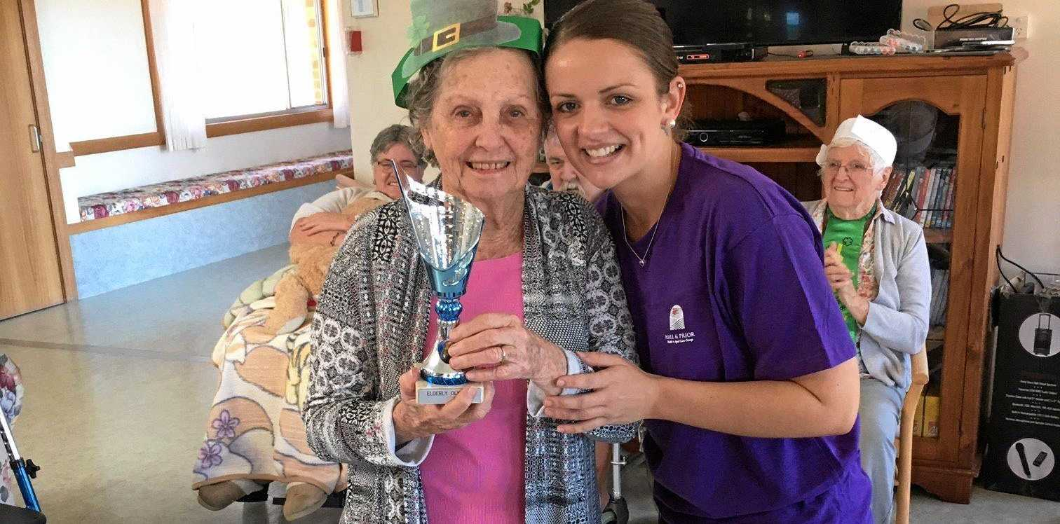 COVETED PRIZE: Residents from Dougherty Villa and Grafton Aged Care Home contested the Elder Olympics for the right to take home the Olympic Torch.
