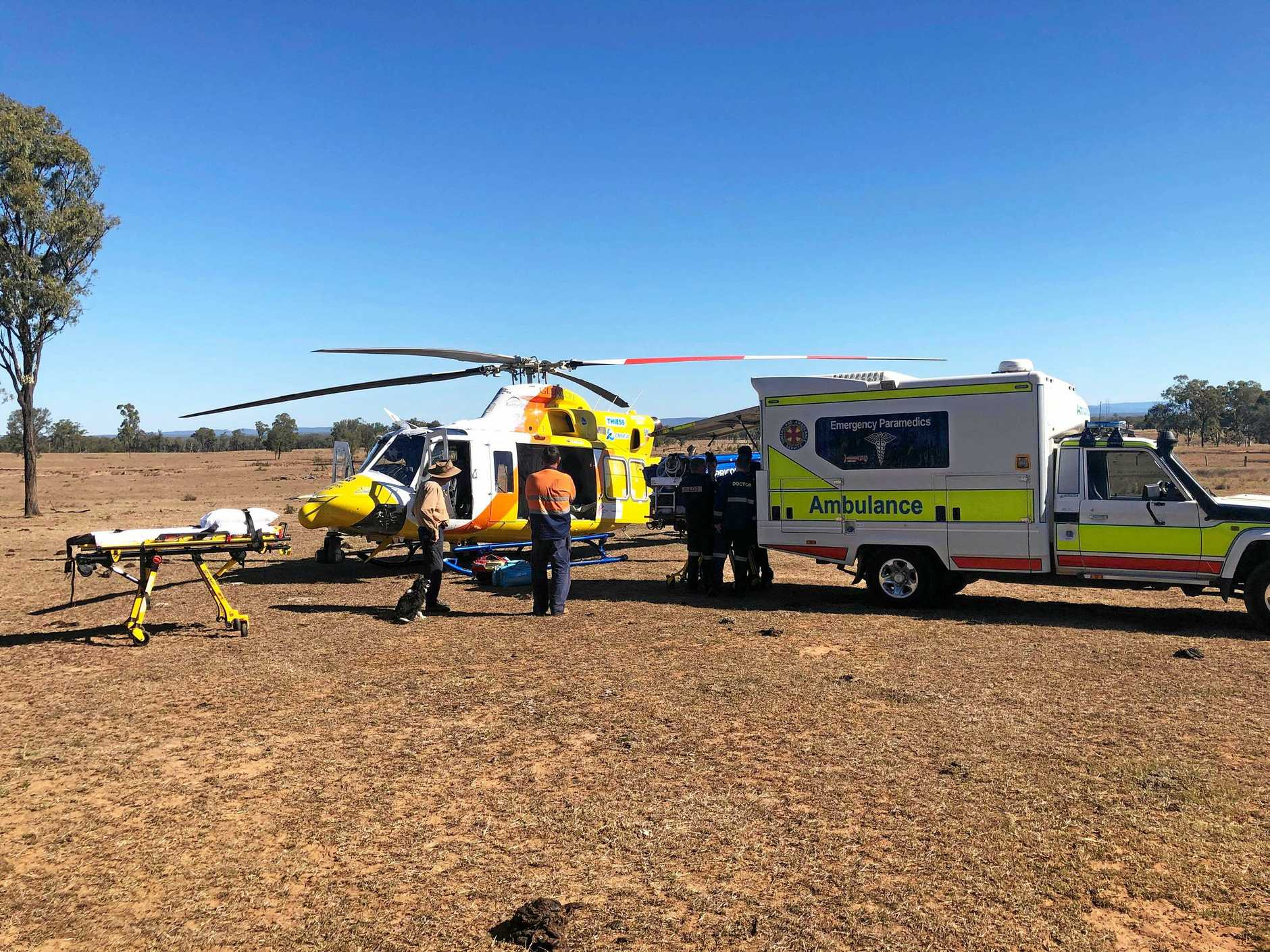 RACQ Capricorn Helicopter Rescue Service transported an 84-year-old woman from a Duaringa property today after an altercation between two bulls led to her being knocked over in the cattle yards.