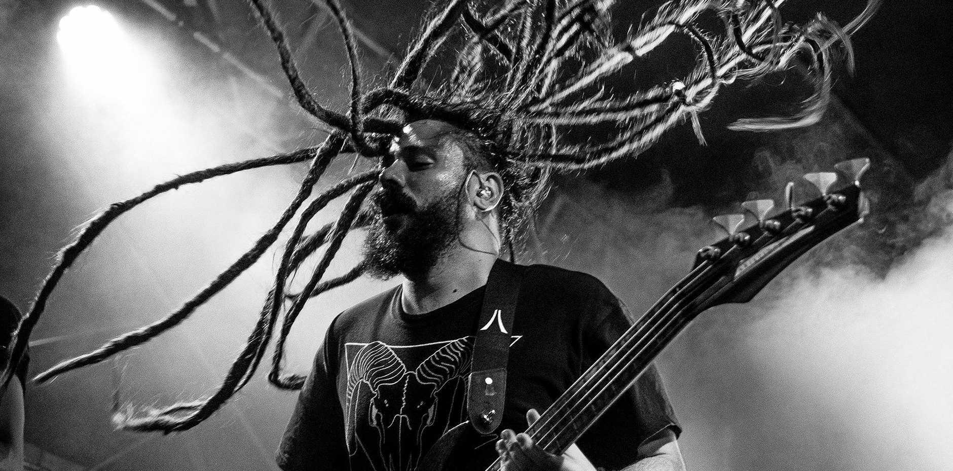 Brandon captured this hair-raising moment from Monuments bassist Adam Swan.