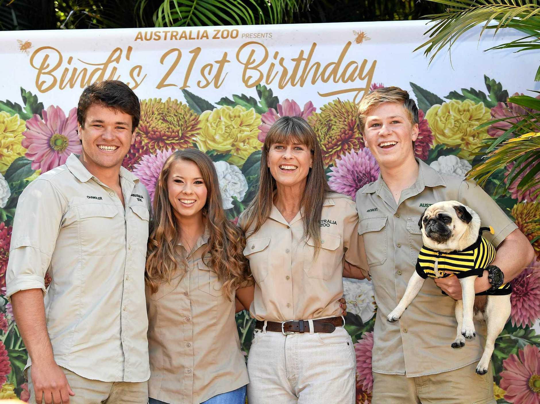 HAPPY BIRTHDAY: Cellarbrations at Australia Zoo as Bindi Irwin turns 21. Chandler Powell, Bindi, Terri and Robert Irwin.