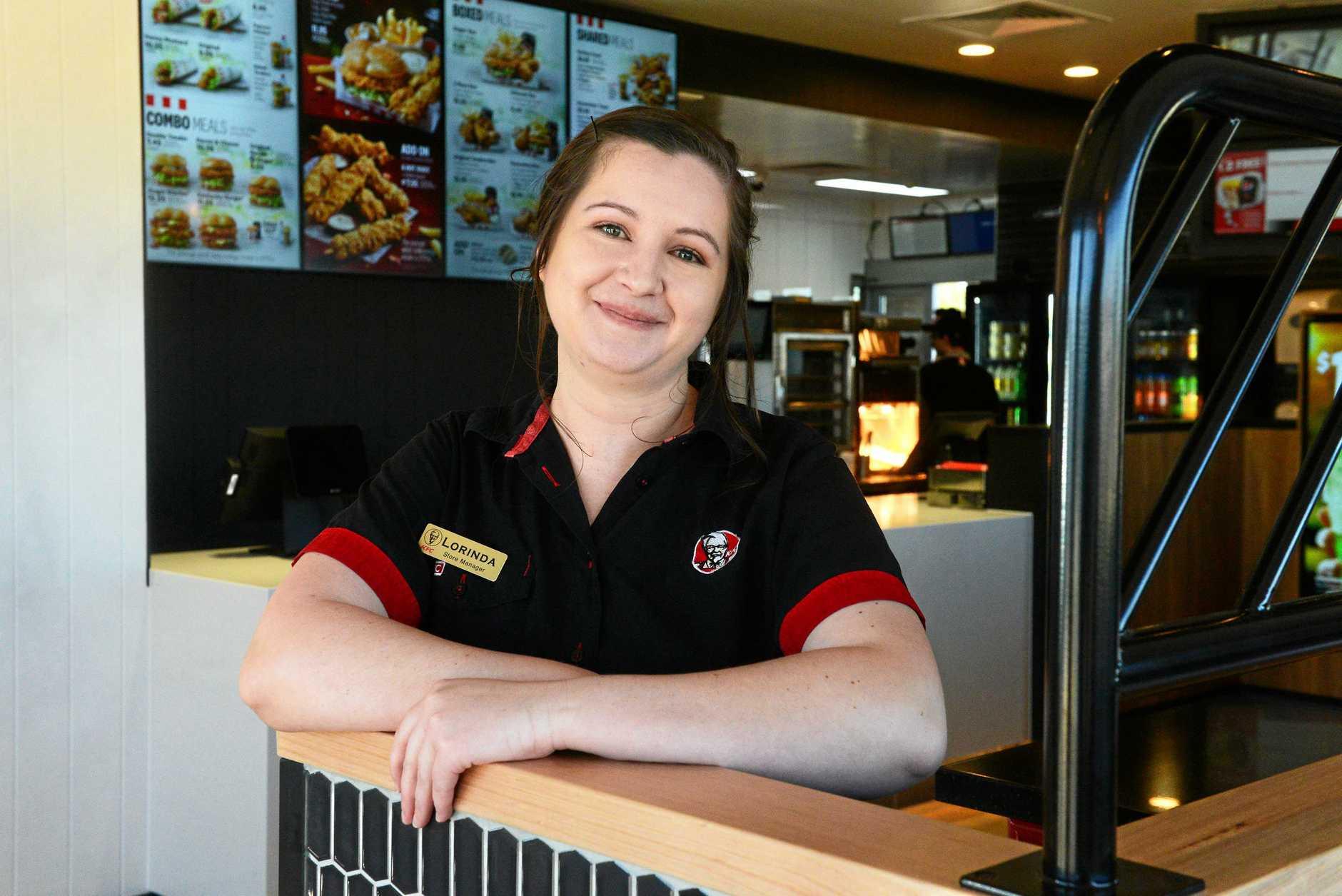 OPENING DAY: KFC store manager Lorinda Medill.