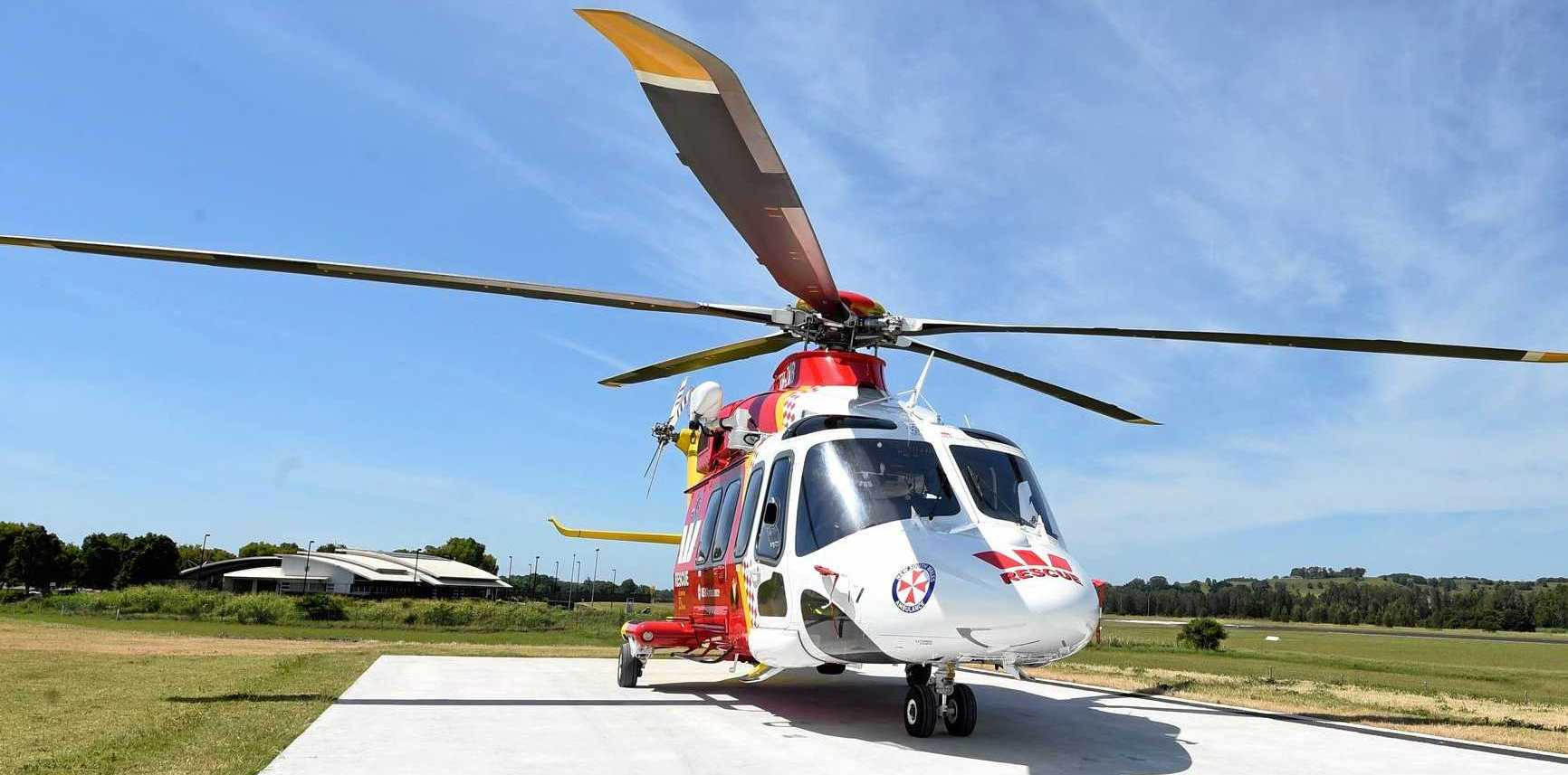 The Westpac Life Saver Rescue Helicopter is on its way to a crash at Dum Dum.