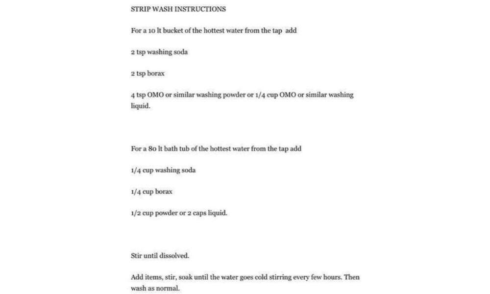 The strip wash recipe works. Source: Facebook