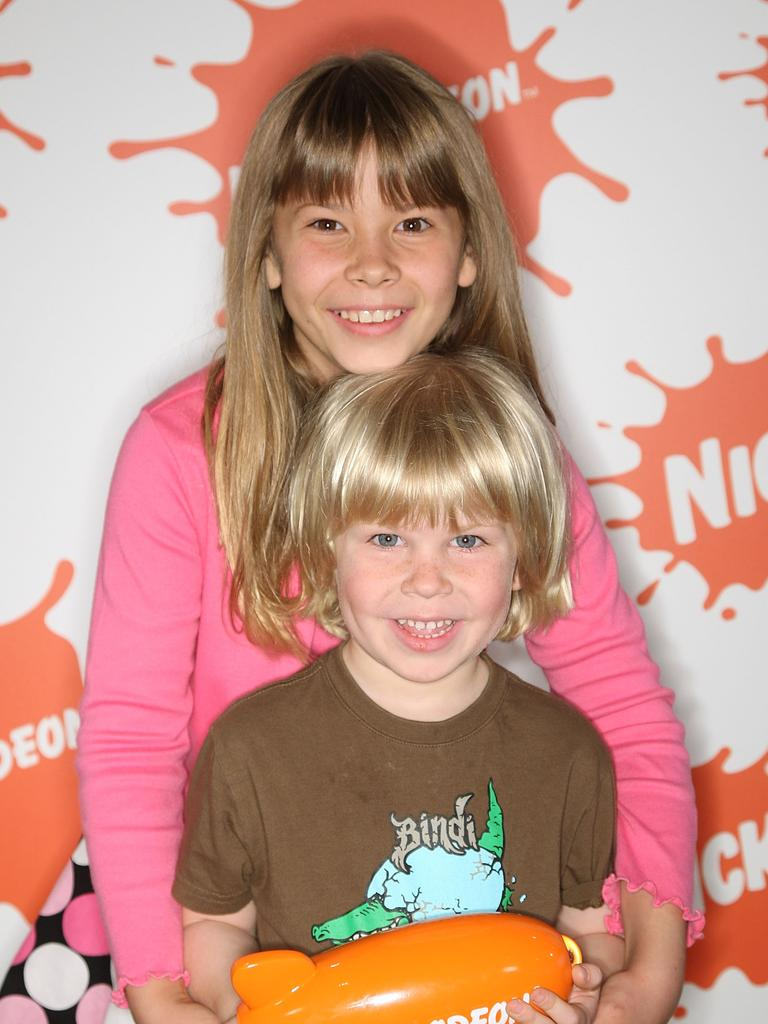 Bindi and Bob Irwin at the Nickelodeon Australian Kids' Choice Awards in 2008. Picture: Getty Images