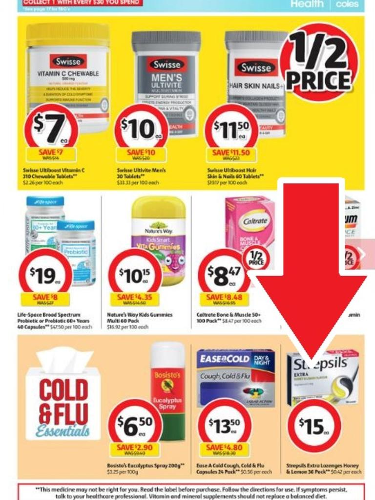 "This pack of Strepsils is in the Coles catalogue beneath a large ""1/2 price"" sticker — but Strepsils are not on special."