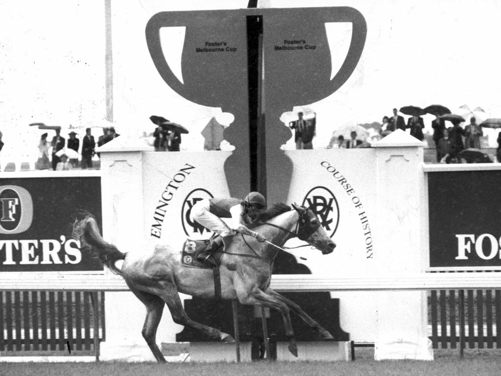 Subzero ridden by jockey Greg Hall as he dashes past the post to win the 1992 Melbourne Cup.