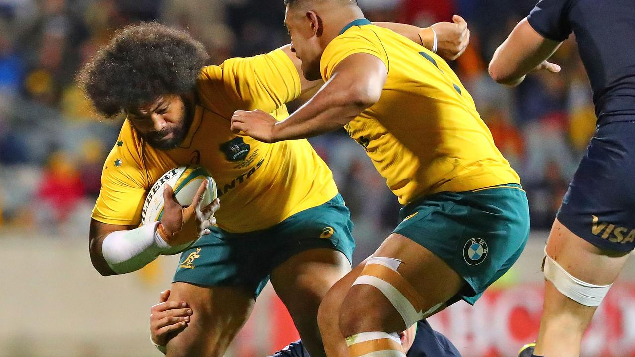 Polota-Nau in action for the Wallabies. He regularly sees a Sydney professor who is conducting a study into football concussions. Picture: Getty Images