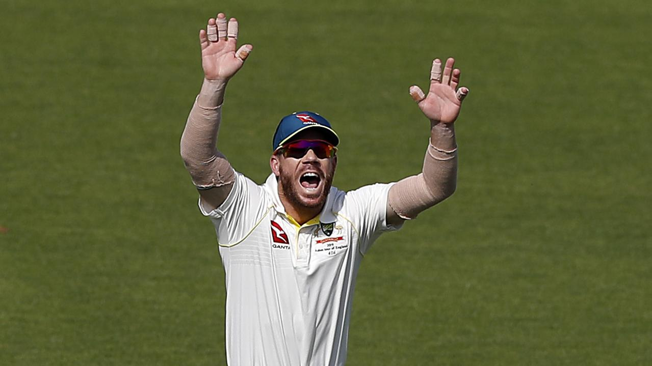 David Warner in the unfamiliar role of slip during the All-Australian clash in Southampton. Picture: Getty Images