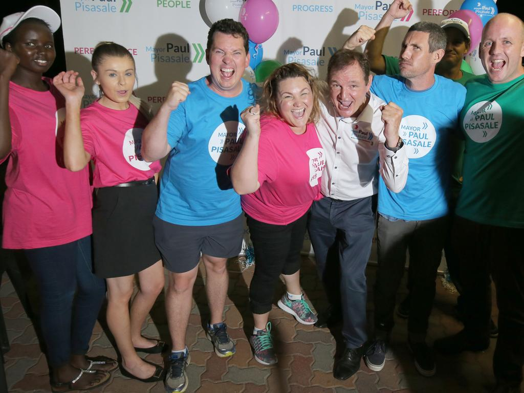 Paul Pisasale (third from left) celebrates his mayoral victory in 2016 with daughter Lisa, son James and other supporters.