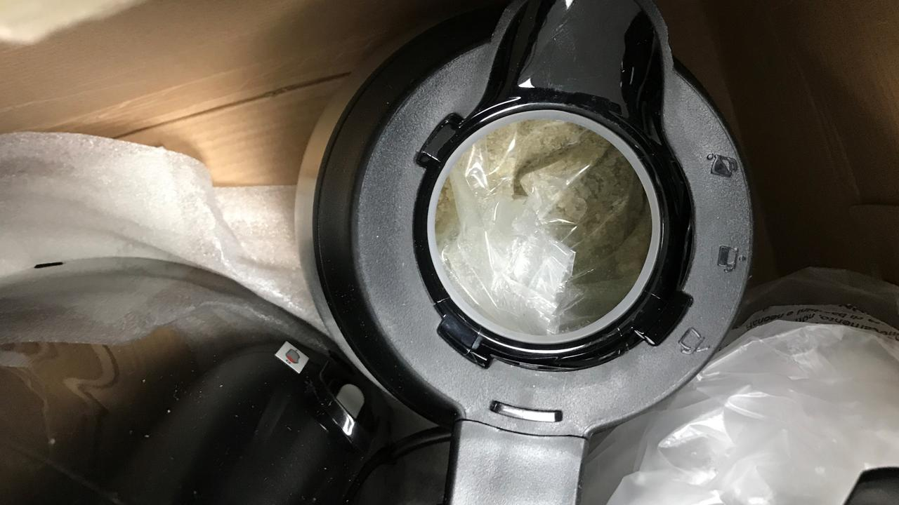 The drugs were concealed in a coffee machine from the Netherlands.