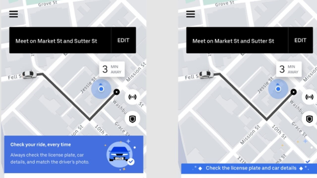 Uber will also display a banner in its app to remind users to check the details of the arriving car. Picture: Supplied