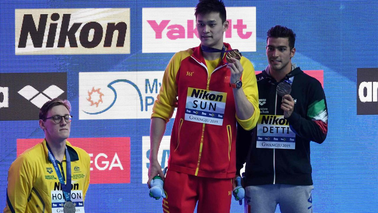 Mack Horton refused to share the podium with Sun Yang. Picture: Ed Jones/AFP