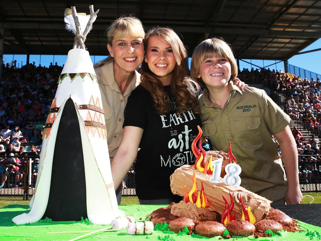 Bindi Irwin celebrates her 18th birthday with her mother Terri Irwin, brother Robert at Australia Zoo on the Sunshine Coast. Picture: Claudia Baxter