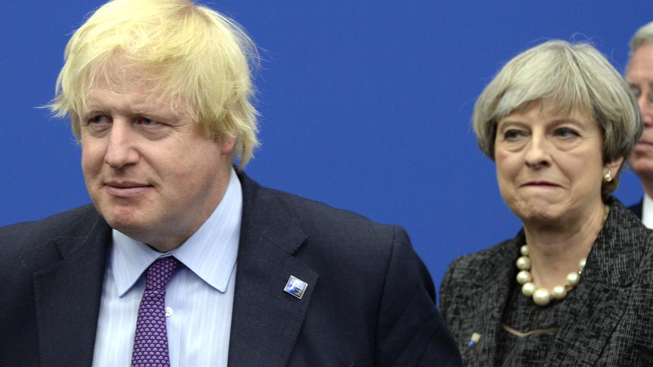 Boris Johnson and Theresa May. Picture: AP