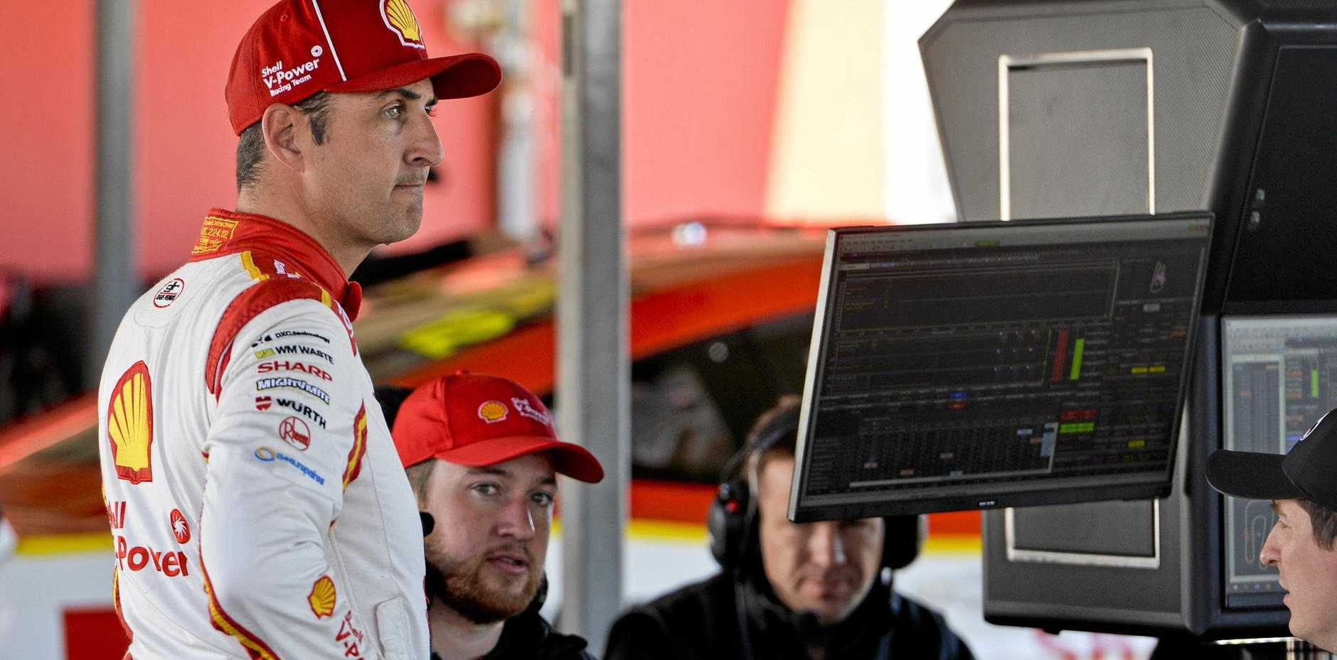 WINNING THOUGHTS: Supercars championship contender Fabian Coulthard assesses the information from the recent pre-Ipswich SuperSprint test day at Queensland Raceway. He goes into this weekend's Ipswich round in second place behind teammate Scott McLaughlin.