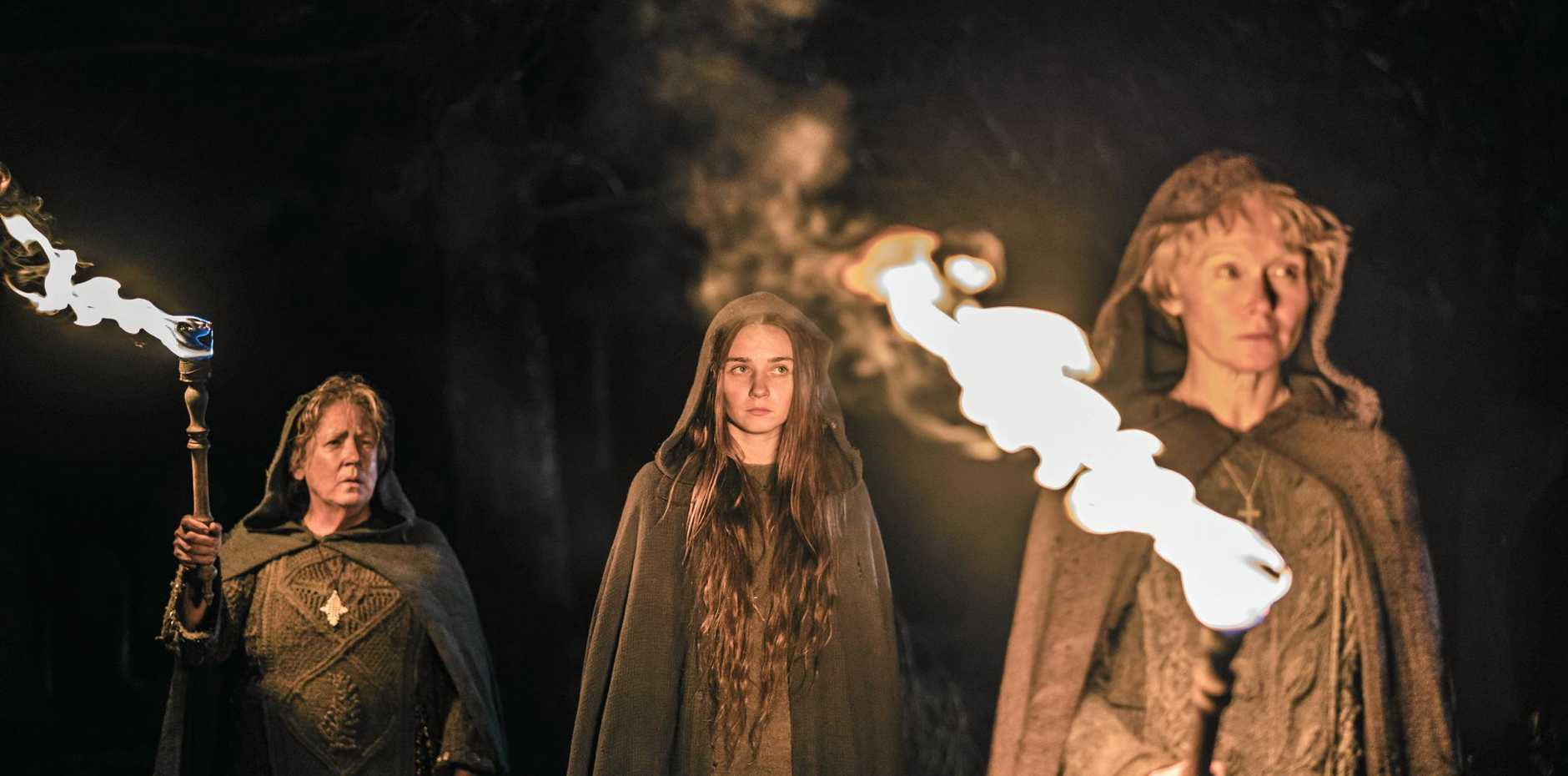 Ann Dowd, Jessica Barden and Essie Davis in a scene from the TV series Lambs of God. Supplied by Foxtel.