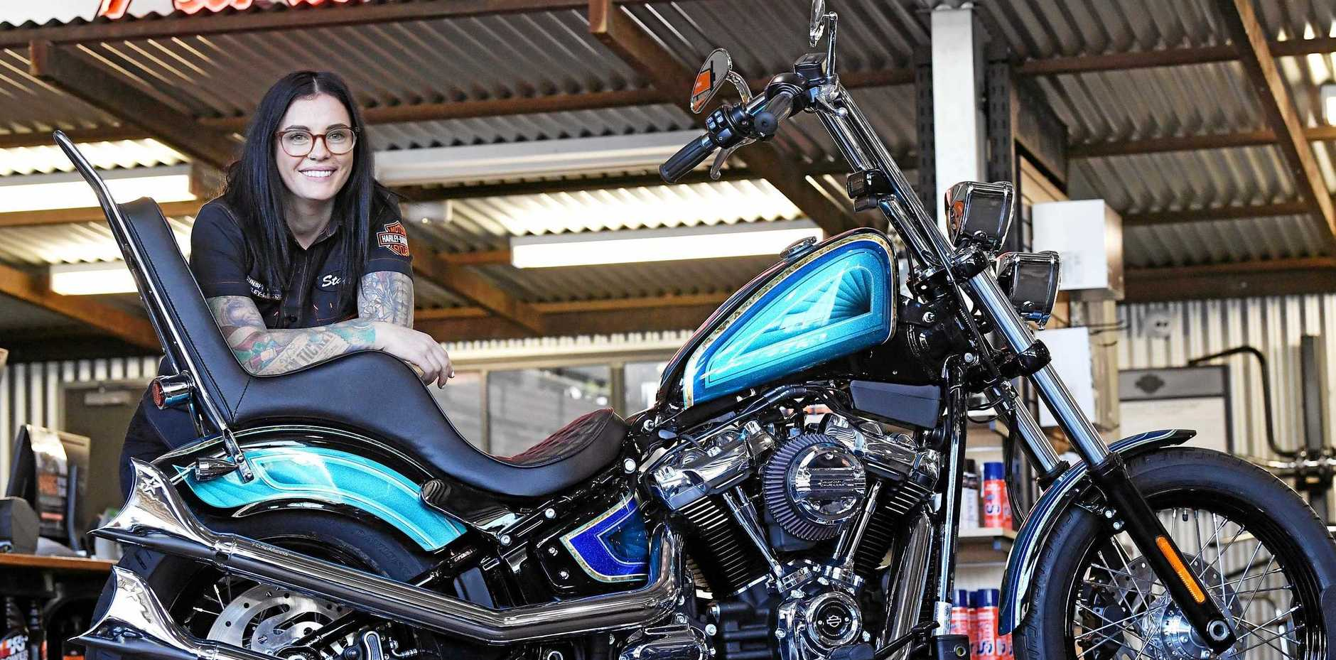 TAKING ON THE WORLD: Monique Dupen has built her own Harley, and is now entering the Battle of the Kings competitionfor customised Harley-Davidson motorbikes around the world.