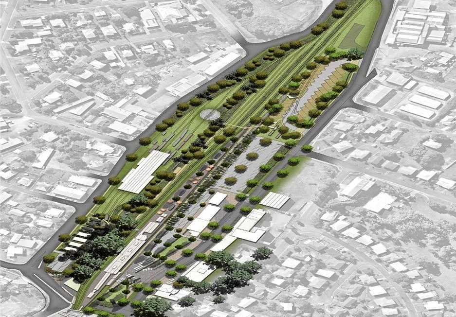 THE FUTURE: A draft design for what the Mary Valley Rattler precinct could become in a draft plan by consultants Place Design Group and (inset) the station precinct in 2017.