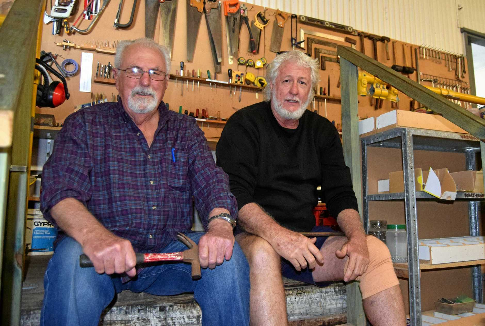 George Curry and Markcus Jaques at Gympie's Men's Shed.