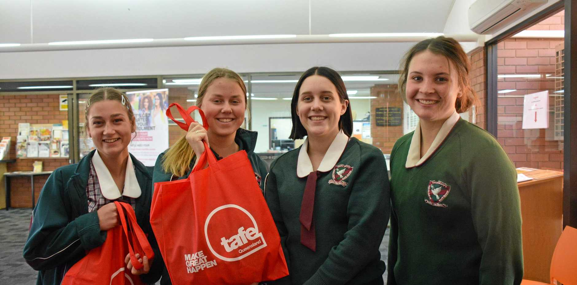 Maddy Askin, Kate Batts, Lana Sowden, and Jamie Atkins from St Mary's explore their study and career options at the South Burnett Careers Market at the Kingaroy TAFE campus.