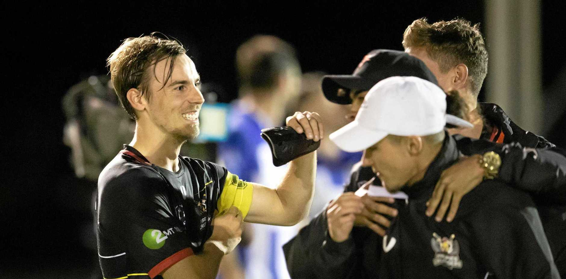 REFOCUS: Magpies Crusaders defender Nelson Burgess (left) says the team has little time to reflect on their mid-week FFA Cup success with a big NPL game to play tomorrow night.