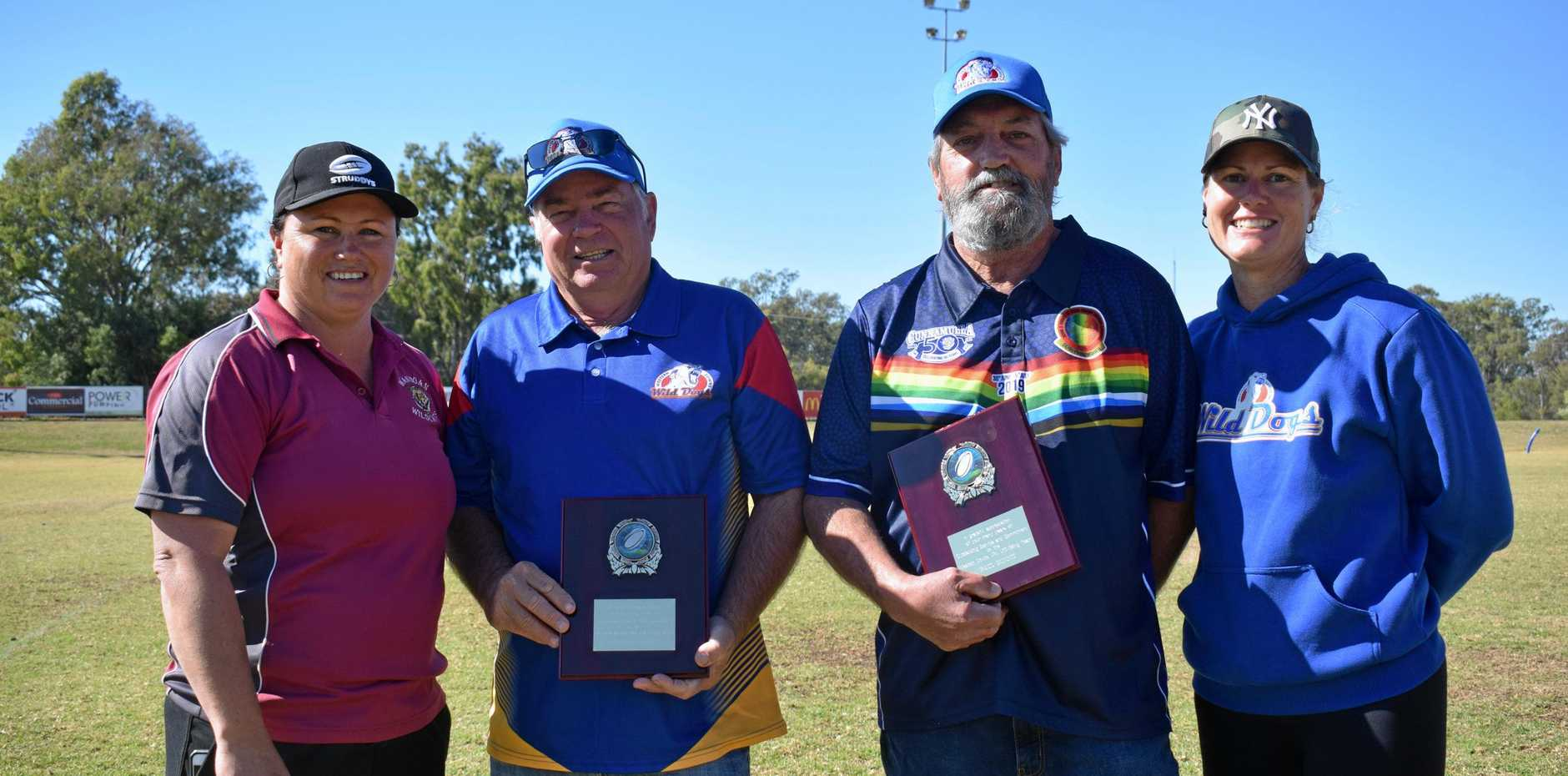 COACHING LEGENDS: Western Downs Junior Rugby League secretary Teena Doherty, coaches Kelson Gaske and Paul Gunnis and president Tamara Pitt at the junior rugby league carnival at Bulldog Park on Saturday.
