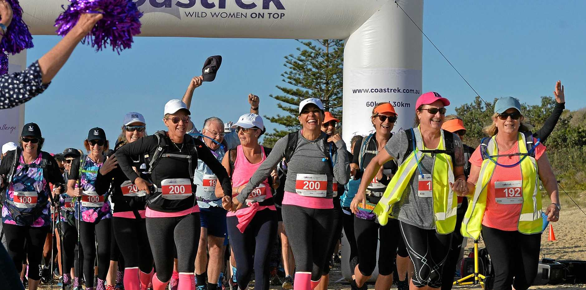 TREKKERS as they set off from Mudjimba in the 2017 Coastrek to Noosa raising money for the Fred Hollows Foundation.