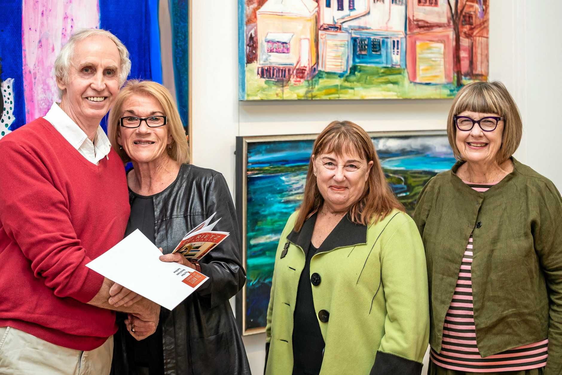 Winner Denis Forshaw with sponsor Gwyn Moore and judges Dr Victoria Garnors-Williams and Dr Susan Ostling.