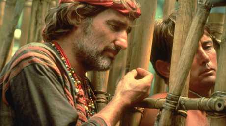Actor Martin Sheen with Dennis Hopper in Apocalypse Now.