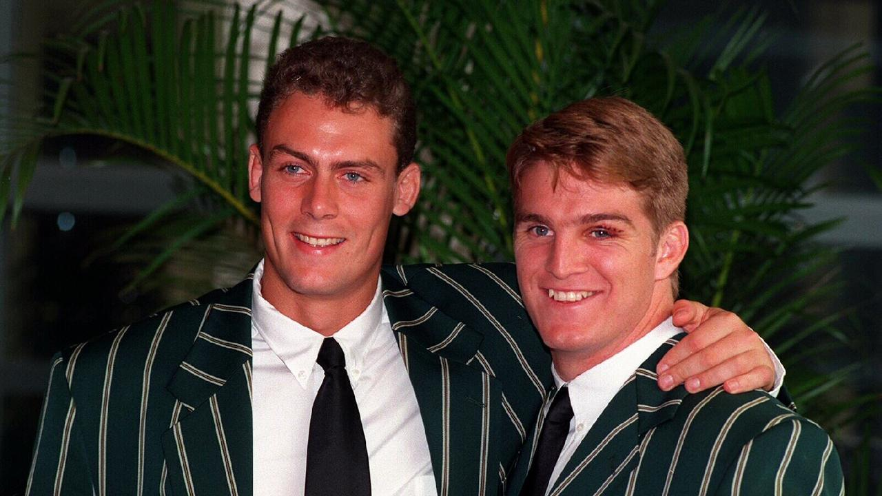 Downlands College's Tim Horan and Toowoomba Grammar's Jason Little would go on to team up in Australia's best ever centre partnership. The former rivals pictured in 1995.