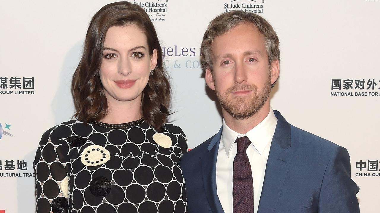 Hathaway and husband Adam Schulman. Picture: Jason Kempin/Getty Images