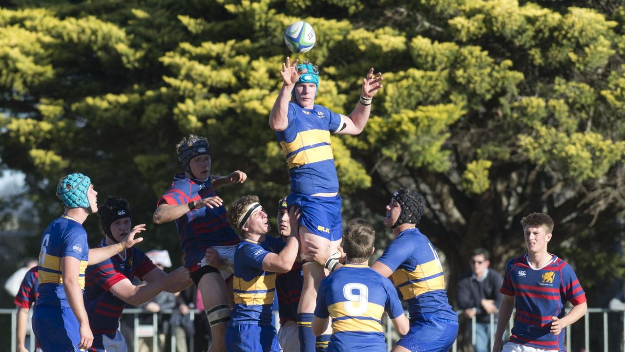 Lock Will Chaffey wins the lineout. O'Callaghan Cup, Downlands vs TGS. Saturday, 21st Jul, 2018. Picture: Toowoomba Chronicle