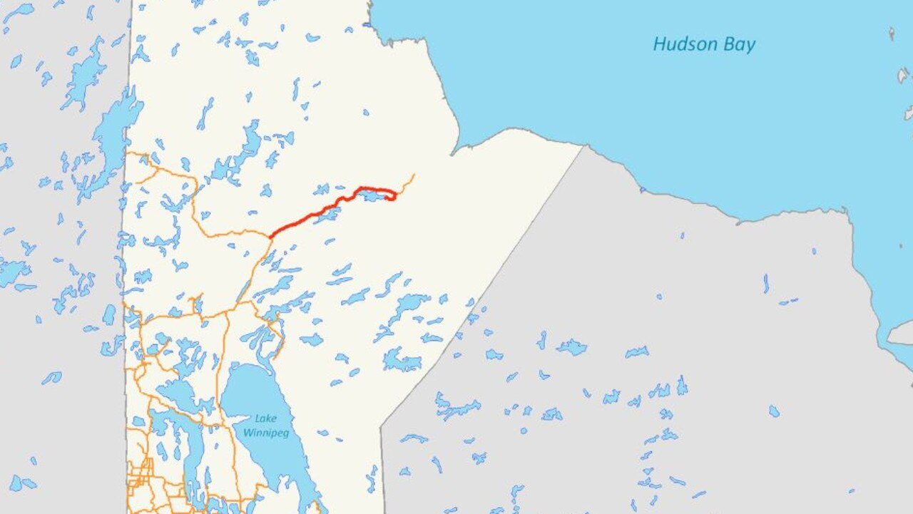The red line marks the only road leading in and out of Gillam, a town dubbed 'the end of the earth'. Picture: Supplied