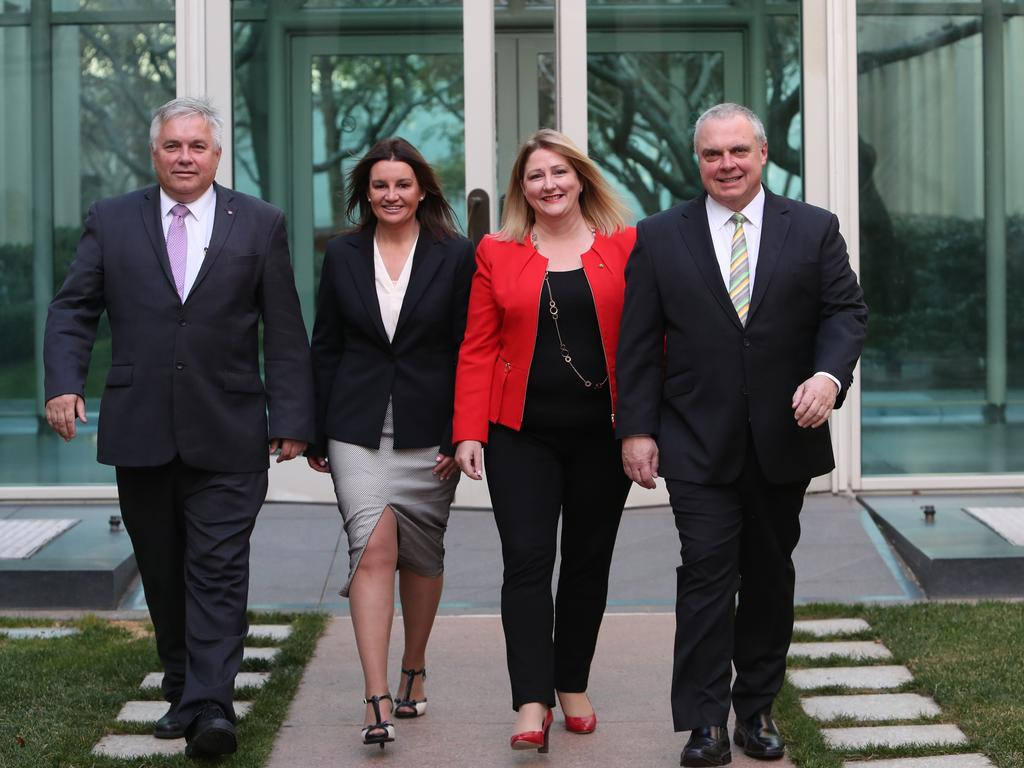 Senators Rex Patrick and Jacqui Lambie with Rebekha Sharkie MP and Senator Stirling Griff. Senator Lambie's vote will be crucial in the senate to repeal the medevac laws. Picture: Kym Smith