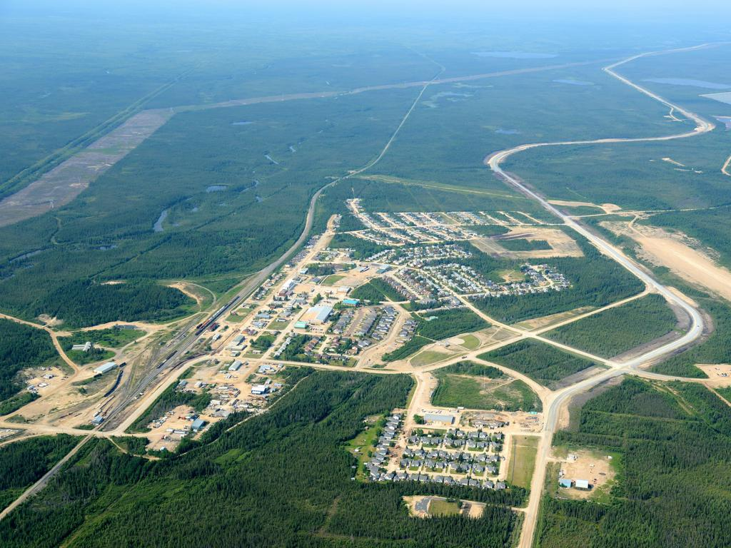 An aerial view of Gillam, Manitoba, where police are searching for the pair. Picture: Alamy