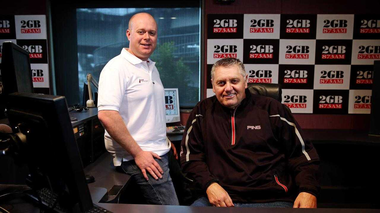 2GB producer Chris Bowen (standing) and host Ray Hadley in their studio when they worked together.