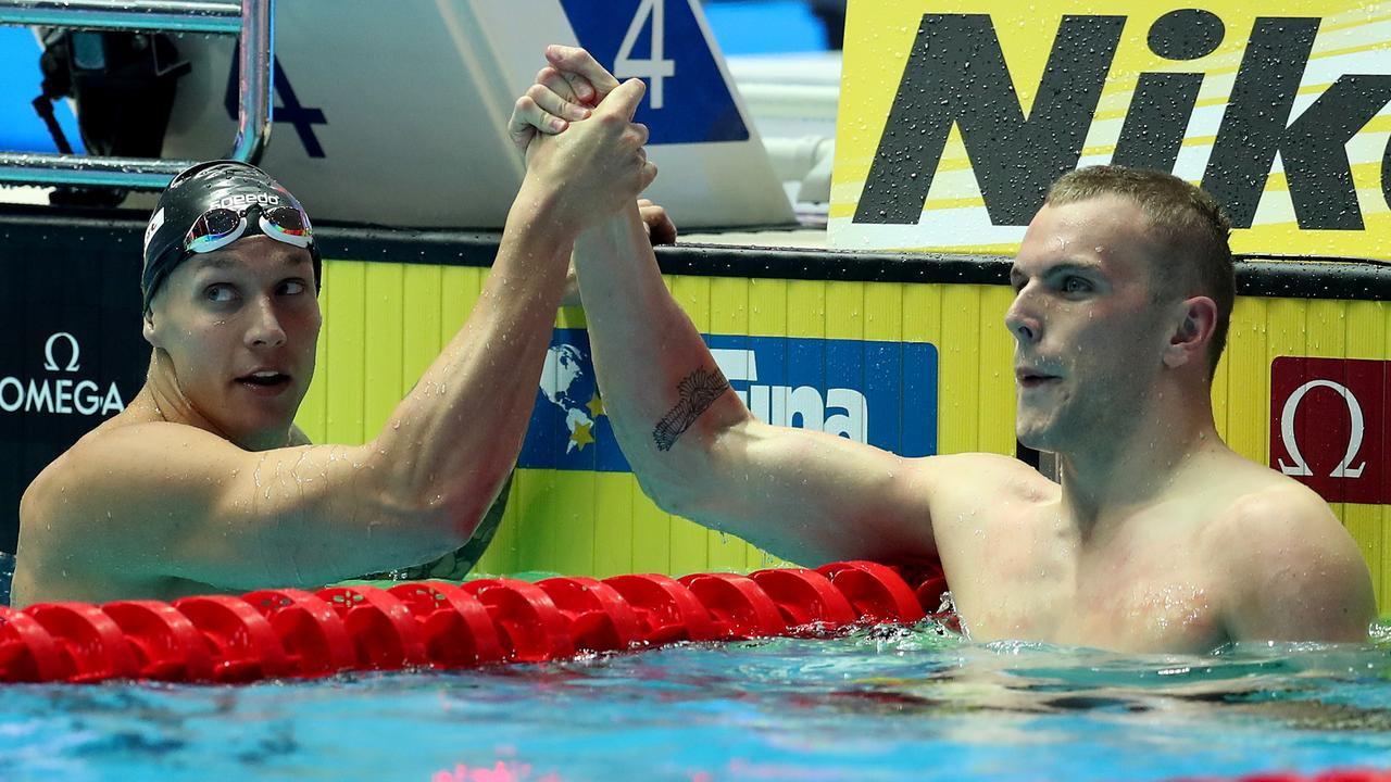 Caeleb Dressel just got the better of Kyle Chalmers.