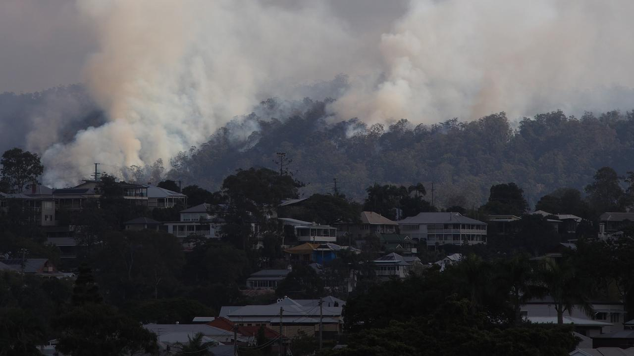 Smoke has been affecting Brisbane's western suburbs during controlled burns at Mt Coot-tha. Picture: Rhett Kleine