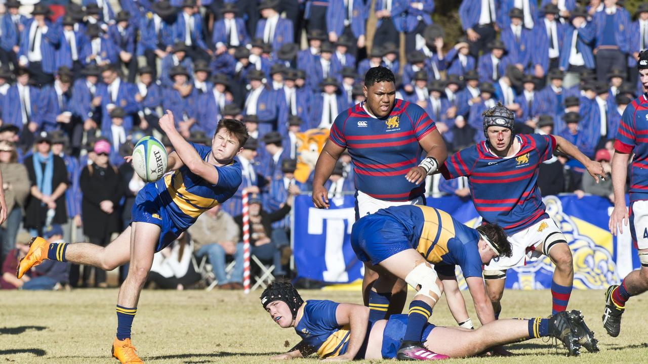 Toowoomba Grammar defeated Downlands College 50-16 in 2018's O'Callaghan Cup clash. Picture: Toowoomba Chronicle.