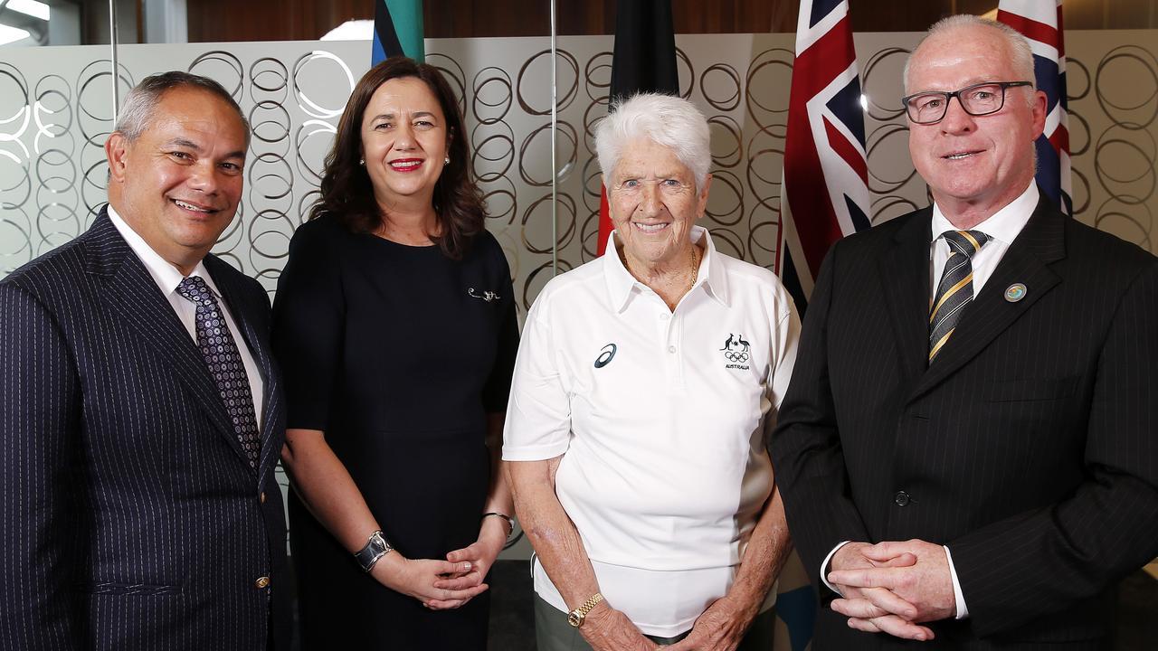 Gold Coast Mayor Tom Tate, Premier Annastacia Palaszczuk, Olympic swimmer Dawn Fraser and Sunshine Coast Mayor Mark Jamieson. Picture: AAP/Josh Woning